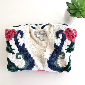 Vintage 90's Floral Knit Sweater